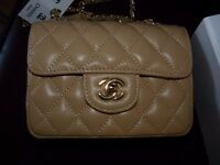 Classic Chanel Mini / beige / real leather / brand new