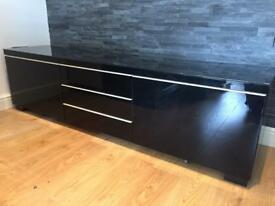 Ikea Besta Burs Black Gloss Tv Unit & Black Glass Top.