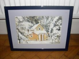 A framed and glazed acrylic painting of a winters scene by M.Biggs.
