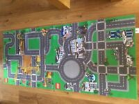 TWO LEGO CITY PLAY MATS, CONSTRUCTION AND POLICE ROAD MAPS, EXCELLENT CONDITION