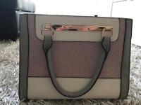 Pink, grey &white bag