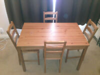 IKEA Wooden Table and 4 Chairs set
