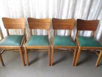 SET OF FOUR VINTAGE RETRO TEAK DINING CHAIRS WITH GREEN VINYL UPHOLSTERED SEATS