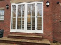 Georgian Style Windows with made to measure Plantation shutters , matching French Door with shutters