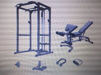 Power Rack, Lat/Low Pulley Attachment, Delux Bench, Weights, Accessories