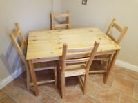 ** IKEA country style kitchen table and 4 chairs **