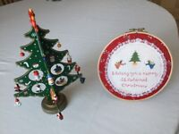 Beautiful Vintage Hand Made Embroidered Christmas Wall Hanging Decoration-Unused + Free Wooden Tree