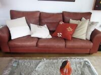 Superb quality 3 Seater leather sofa plus armchairs and/or side tables....see details.