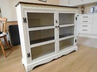 Antique painted glazed book case / display cabinet 120cm