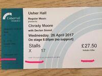 1 ticket to Christy Moore at Edinburgh Usher Hall 26 April 2017