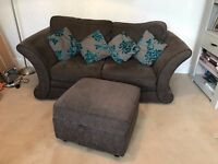 Sofa in Light Brown with scatter cushions and large storage footstool