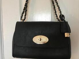 Mulberry Lily medium black real lambskin cross shoulder bag LV YSL Dior Chanel