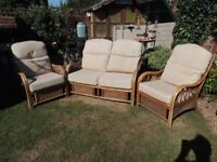 3 piece rattan furniture, good condition, complete with cushions