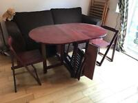 Solid wood fold out table & chairs