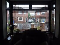 Hard wood blinds. 3 in total. 79x62. 71x52. 40x52. Brown in colour, very classy. Lovely condition.