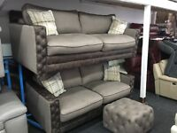 New/Ex Display Belvedere Brown Half Leather 3 Seater Sofa + 2 Seater Sofa (RRP3500)