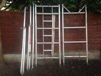 Aluminium scaffold tower frames and stabilisers