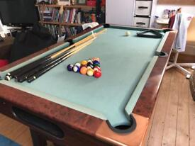 Pool table with equipment