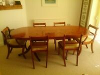 Extending Dining Table, 8 Chairs & Sideboard all matching in Yew wood