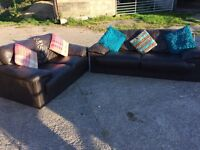 2& 3 seater leather sofa- good condition