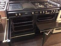 Black & green convoy 110cm gas cooker grill & double ovens with guarantee