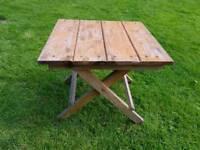 Sturdy wooden fold away garden table