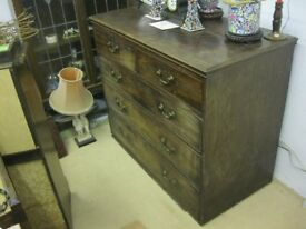 VINTAGE MAHOGANY STURDY CHEST OF DRAWERS. '2 OVER 3' DEEP DOVE-TAILED LAYOUT. VIEWING/DELIVERY POSS