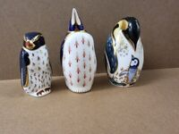 SET OF 3 RETIRED ROYAL CROWN DERBY PENGUINS