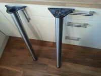 brushed aluminium breakfast bar legs x2