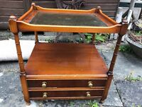 Yew occasional table with drawers