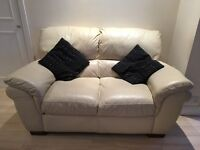 3 seater & 2 seater cream leather sofas - selling due to house move