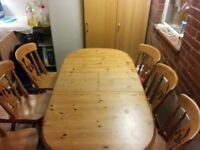 Stripped Pine Extendable Dining Table and 6 Chairs