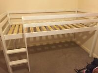 2x white single kids wooden cabin bed bunk high bed