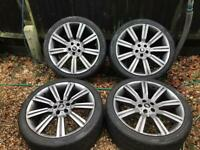 "22"" Range Rover Stormed Alloy Alloys With Tyres 5x120 Grey Volkswagen T5"