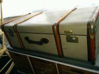 Vintage wood bound suitcase