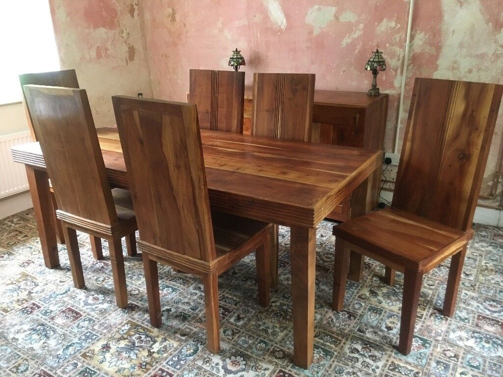 Matching set of Indian solid wood dining table, 6 chairs and sideboard