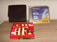 JOB LOT NEW CD WALLET,BLANK DISCS,TAPES - 25P