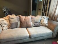 Sofa. 4 seater with matching storage footstool