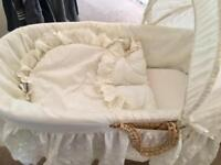 Moses basket with rocking stand and Broderie Anglaise covers