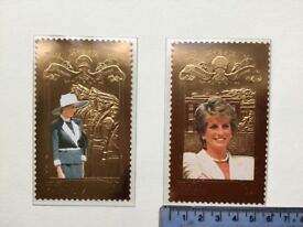Diana Princess of Wales 22k Gold foil postage stamps