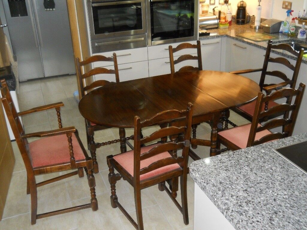 Solid Mahogany Drop-leaf DINING TABLE & 6 Chairs (2 Carvers)