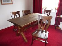 SOLID OAK REFECTORY DINNING TABLE & 4 ORIGINAL CHAIRS