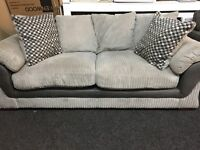 NEW / Ex Display DFS Grey Cord 3 Seater Sofa