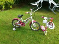 Girls 3 wheeler bicycle with stabilisers and 'Minnie Mouse' scooter with helmet