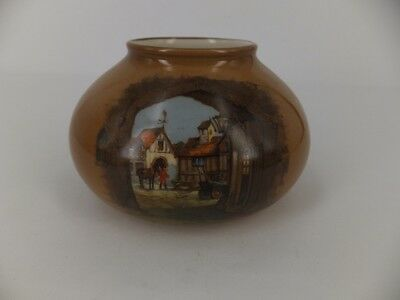 Lancaster & Sons squat vase English town .  caramel colour post 1920's