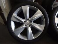 """VERY RARE SET GENUINE NISSAN 21"""" 5 STUD ALLOYS WITH GOOD 295 35 21 TYRES JUST BN NEWLY REFURBD"""