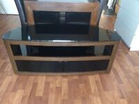 Glass and wood television stand
