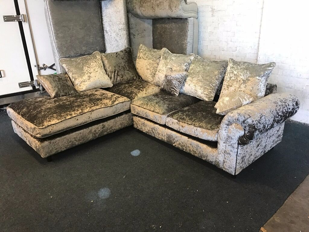 Littlewoods Silver Crushed Velvet L Shape Corner Sofa One Arm  ~ One Arm Sofa With Chaise