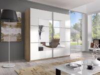 BETA Double Mirrored Wardrobe in Light Oak and White - 22AE1656