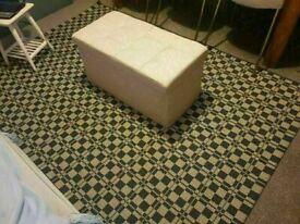 Large Faux Linen cream Ottoman good conditon and very comfortable